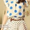 (พร้อมส่ง)เสื้อ ชีฟอง น่ารัก สีขาว ลายวงกลม สีฟ้า แต่งระบาย