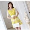 เดรสแฟชั่นเกาหลีเสื้อแขนสั้นสีเหลืองสดลายดอกไม้มาพร้อมเข็มขัดสีขาวเข้าชุดกันคะ L