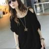 (พร้อมส่ง)เสื้อแฟชั่น สวยเท่ห์ สไตล์เกาหลี แต่งระบายลายทางเป็นริ้วๆ สีดำ