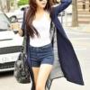 (พร้อมส่ง)เสื้อคลุมตัวยาว เก๋ๆ ผ้าตาข่าย+คอตตอน แฟชั่นเกาหลี สีกรมท่า