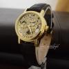 นาฬิกาข้อมือกลไกผู้หญิง สีทอง หน้าปัดลายฉลุลูกไม้ สายหนังสีน้ำตาล