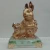กระต่ายทองฐานแก้วสูง 4 นิ้ว