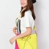 (พร้อมส่ง)กระเป๋าแฟชั่น หนังนิ่ม ติดโบว์ สไตล์น่ารัก สดใส สีเหลืองมะนาว แบรนด์ Axixi