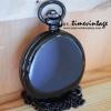 นาฬิกาพกสีดำระบบเลขอารบิค แบบล็อคเก็ต Pewter Black ฝาทึบพื้นเรียบหน้า-หลัง (พร้อมส่ง)