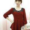 B.B.Girl เสื้อแฟชั่นสีแดงมะเหมี่ยว(อมส้ม)แขนสี่ส่วนตัดต่อผ้าลูกไม้สีดำ สินค้าจริงภาพสุดท้ายค่ะสวยค่ะ