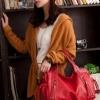 (พร้อมส่ง)กระเป๋าหนังนิ่ม สีแดง ทรงสวย ไฮโซ แต่งหมุด+พู่เก๋ๆ แฟชั่นเกาหลี แบรนด์ PG