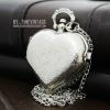 นาฬิกาสร้อยคอ locket หัวใจ ดีไซต์ Forever Love สีเงินฝาทึบ
