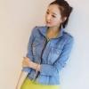 เสื้อแจ็คเก็ตยีนส์แฟชั่นสีอ่อนเอวเข้ารูปทรงสวยไซส์ L ค่ะ