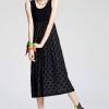 (พร้อมส่ง)ชุดเดรสยาว สีดำ ผ้าคอตตอน+ผ้าซีทรู ลายจุด สวย คุณภาพดี แฟชั่นเกาหลี
