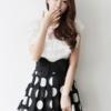 (พร้อมส่ง)กระโปรงน่ารัก ผ้าชีฟองสีดำ ลายจุด แต่งจีบ+โบว์ แฟชั่นเกาหลี