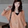 Chu ViVi เสื้อแฟชั่นสีส้มแขนสี่ส่วนคอวีแต่งปก
