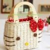 กระเป๋าสาน คิตตี้ สีแดง แสนน่ารัก สายไม้เคลือบ แฟชั่นญี่ปุ่น