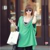 เสื้อแฟชั่นแต่งคอวีทรงสบายสีเขียวตามแบบนะค่ะ