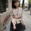 Chu ViVi เสื้อคลุมคอปกแขนยาวสีเบจ