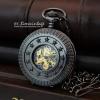 นาฬิกากลไกสีดำหน้าปัดสีน้ำเงิน ลายฝาฉลุดอกชาดัดประดับดาว