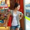 เสื้อคลุมแฟชั่นเกาหลี สีเทา ไหล่ยก ผ้าเนื้อบางพร้อมมีซับใน