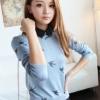 (พร้อมส่ง)เสื้อไหมพรมบาง สีฟ้า ลายนก คุณภาพดี แฟชั่นเกาหลี