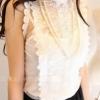 (พร้อมส่ง)เสื้อแขนกุด ผ้าตาข่าย แต่งลายลูกไม้ แฟชั่นชุดทำงาน สีขาว