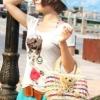 กระเป๋าสาน น้องหมี แสนน่ารัก สีสันสดใส สายไม้ แฟชั่นญี่ปุ่น