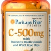 Puritan's Pride - Vitamin C 500 mg with Protective Bioflavonoids and Wild Rose hips 100 Coated Caplets