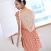 Chu ViVi ชุดเดรสผ้าฝ้ายเนื้อดีลายจุดสีส้ม เสื้อคอปาดแขนล้ำ เซ็กซี่ด้านหลังต่อผ้าโคเชลายเข้าชุด
