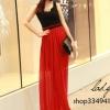 (พร้อมส่ง)ชุดเดรสยาว สวยเซ็กซี่ เสื้อกล้ามสีดำ+กระโปรงชีฟองบางสีแดง แฟชั่นเกาหลี