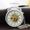 นาฬิกาพกสีเงินหน้าเปลื่อยแบบไม่มีฝาระบบกลไกไขลาน โชว์เครื่องนาฬิกา