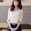(พร้อมส่ง)เสื้อชีฟอง ชุดทำงาน สีครีม แต่งจีบ แขนห้าส่วน สไตล์เกาหลี