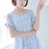 (พร้อมส่ง)เสื้อน่ารัก สีฟ้า แต่งลูกไม้ เว้าไหล่ แต่งระบายช่วงแขน ทรงฟรี ใส่สบาย มี 2 Size L,XL