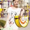 กระเป๋าสาน น่ารัก สไตล์ซัมเมอร์ ทรงเลม่อน แต่งโบว์ สีเหลือง
