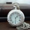 นาฬิกาพกพรีเมี่ยมระบบถ่านสีเงินฝาหน้าคริสตัลหน้าปัดเลขโรมัน