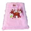 ชุดเบาะที่นอนเด็กผ้าคอตตอนใหญ่ พร้อมกระเป๋าพลาสติกสำหรับพกพา สีชมพู