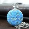 นาฬิกาพก ของที่ระลึกพรีเมี่ยมแบบไทยๆ ลายดอกบัวสีฟ้า Blue Lotus