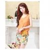 ชุดเดรสแฟชั่น 2 ชิ้น เสื้อสายเดี่ยวลายดอกไม้ เสื้อนอกสีส้มผ้าซีฟอง(ตามภาพ)