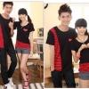 ชุดคู่รัก สีดำแดง เสื้อคอกลม