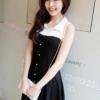 (พร้อมส่ง)เดรสน่ารัก เรียบๆ ผ้าคอตตอน คอปก สีดำ-ขาว แฟชั่นเกาหลี