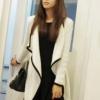 (พร้อมส่ง)เสื้อคลุมผ้าถัก สีขาวครีม ขลิบขอบดำ ปล่อยฟรี สไตล์เกาหลี