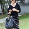 (พร้อมส่ง)เดรสยาว ผ้าคอตตอน แขนยาวสีดำ กระโปรงลายขวาง สีขาว-ดำ