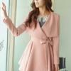 (พร้อมส่ง)เสื้อโค้ช สุดไฮโซ ทรงสวย สีชมพูหวาน + เข็มขัดผ้าสีชมพู