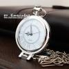 นาฬิกาพก ฝาแก้วคริสตัลแว่นขยาย พื้นสีขาว เลขโรมัน สามารถพับตั้งได้ (พร้อมส่ง)