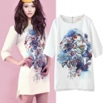 [Preorder] เดรสแฟชั่นแขนสามส่วนสไตล์ยุโรป สกรีนลายเก๋ๆ สีขาว (ไซส์ S M L) 2015 summer new women's fashion star Tang Yan with models of digital ink printing Rhinestone Dress