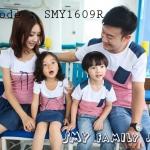 ชุดครอบครัว เสื้อครอบครัวคอกลมแขนสั้นลายขวางขาวแดง SMY1609R - พร้อมส่ง