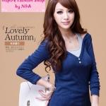 [Preorder] เสื้อแฟชั่นแขนยาวสีน้ำเงิน Korean women's new casual leave two long version T-shirt