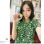 [Preorder] เสื้อแฟชั่นแขนสั้นรับลมร้อนสีสดใสลาย geometric สีเขียวเรืองแสง Korea fluorescent colors geometric short-sleeved T-shirt