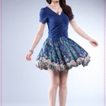 [Preorder] เดรสทำงาน (เดรสออกงาน) แฟชั่นกระโปรงลายดอกไม้สีน้ำเงิน Korean version of the Slim thin knitted lace floral dress summer new short-sleeved dress V-neck