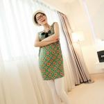 [Preorder] เดรสทำงานแฟชั่นแขนกุด ลาย Retro Round สีเขียวส้ม 2013 summer new Korean Women stretch pocket retro suit short-sleeved dress