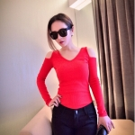[Preorder] เสื้อแฟชั่นแขนยาวคอวีเปิดไหล่ สำหรับสาวไซส์เล็ก สีแดง (ไซส์ S M) 2014 spring new Korean fashion Slim sexy strapless long-sleeved t-shirt