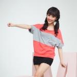 [Preorder] เสื้อแฟชั่นแขนสั้น สีส้มเทา 2013 spring new Korean bat sleeve large size women loose short-sleeved cotton T-shirt