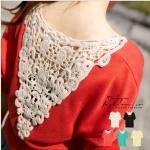 [Preorder] เสื้อแฟชั่นแขนสั้นด้านหลังปักลวดลายเก๋ๆ สีส้ม Houbuleisi stitching sweaters
