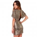 [Preorder] เดรสออกงานแฟชั่นเก๋ไก๋ เปิดหลัง สีทอง (ไซส์ XS S M L XL XXL) Europe and gorgeous full-sequined sexy nightclub Slim package hip skirt halter dress slit dress